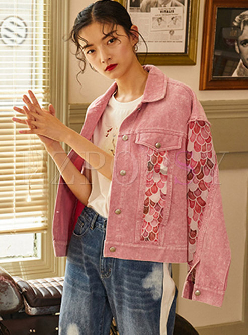 Pink Turn-down Collar Print Patchwork Denim Jacket
