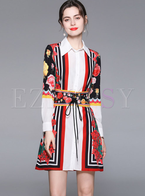 Turn-down Collar Print Striped A Line Shirt Dress