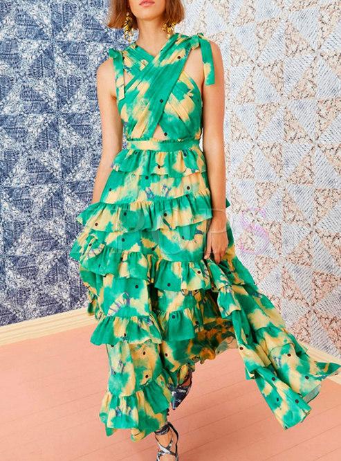 Boho V-neck Sleeveless Print Beach Tiered Maxi Dress