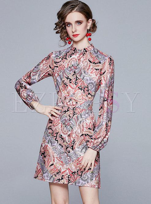 Mandarin Collar Floral A Line Mini Dress