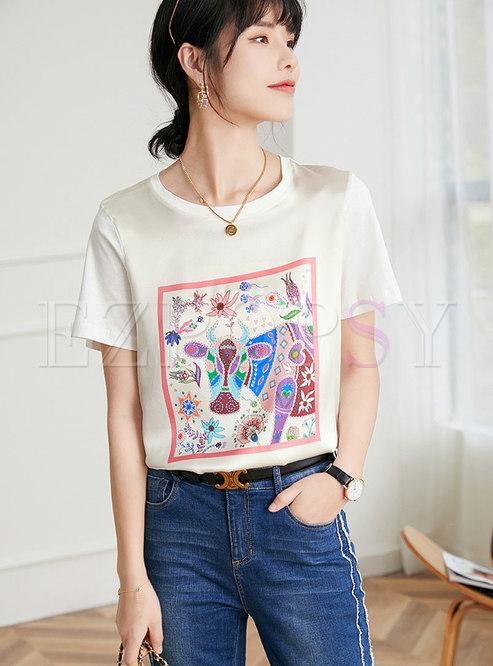 Crew Neck Short Sleeve Pullover Print T-shirt
