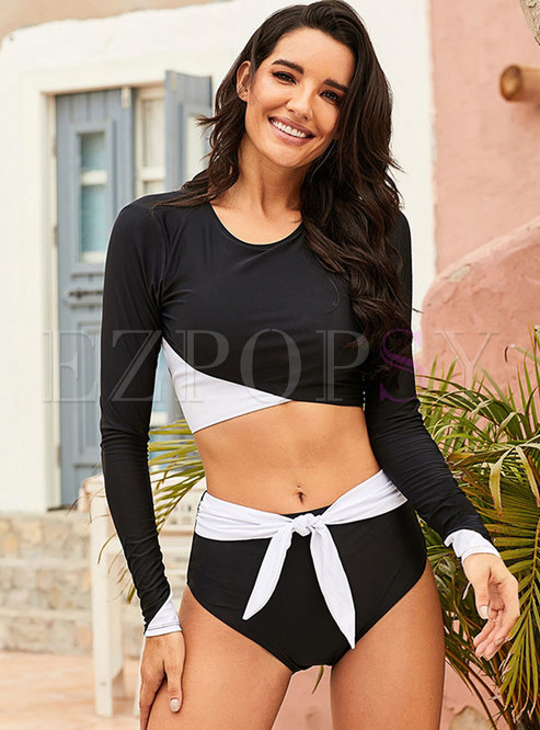 Long Sleeve Patchwork Twist Front Tankini