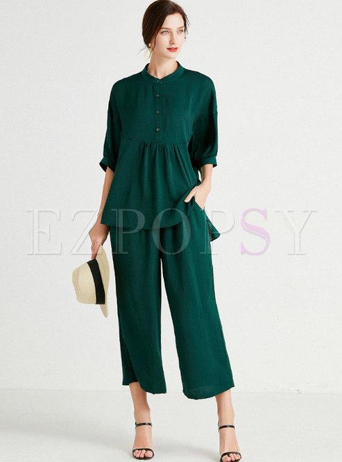 Plus Size Casual Solid Wide Leg Capri Pant Suits