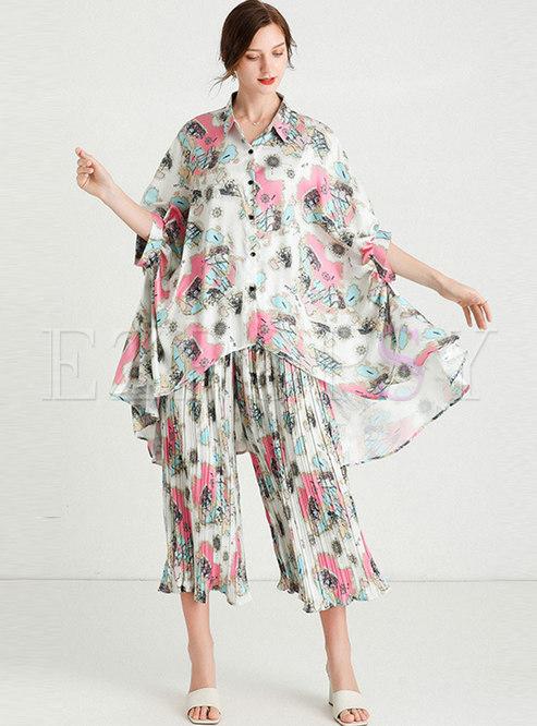 Print Satin Chiffon Plus Size Pant Suits
