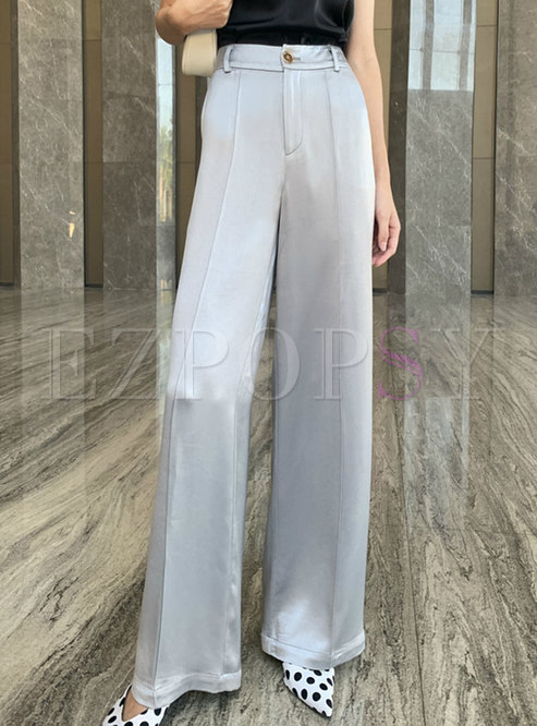 Solid High Waisted Satin Wide Leg Pants