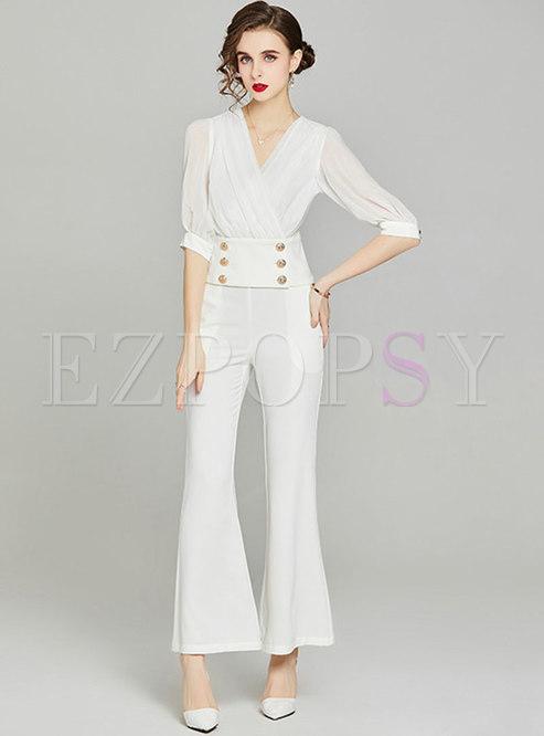 White Half Sleeve Short Blouse & Flare Pants