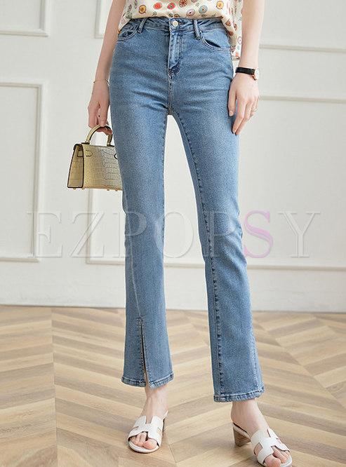 Casual High Waisted Split Bell Bottom Jeans