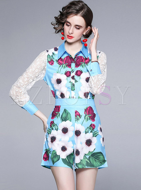 Print Lace Patchwork High Waisted Shorts Suits