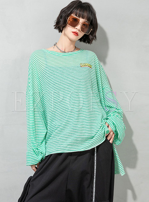 Plus Size Long Sleeve Striped Pullover T-shirt