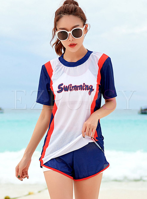 Color-blocked Letter Print Cover-up Swimwear