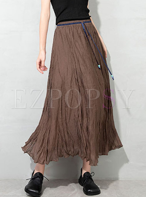 High Waisted A Line Ruched Maxi Skirt