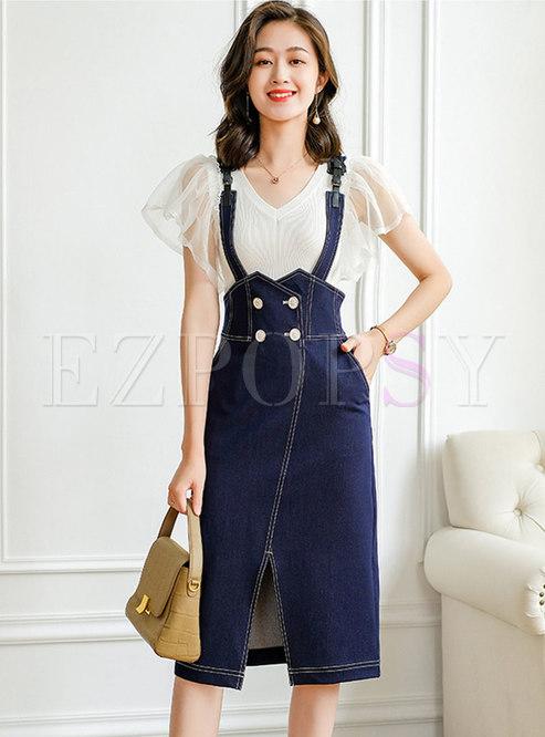 Blue High Waisted Denim Shift Suspender Skirt