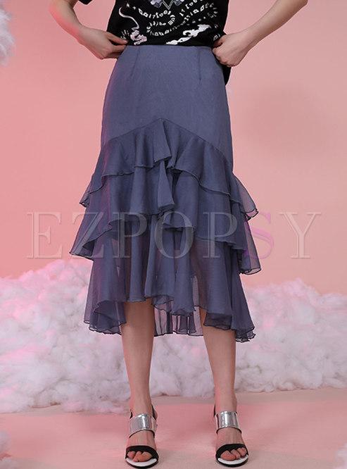 High Waisted Ruffle Midi Layer Skirt