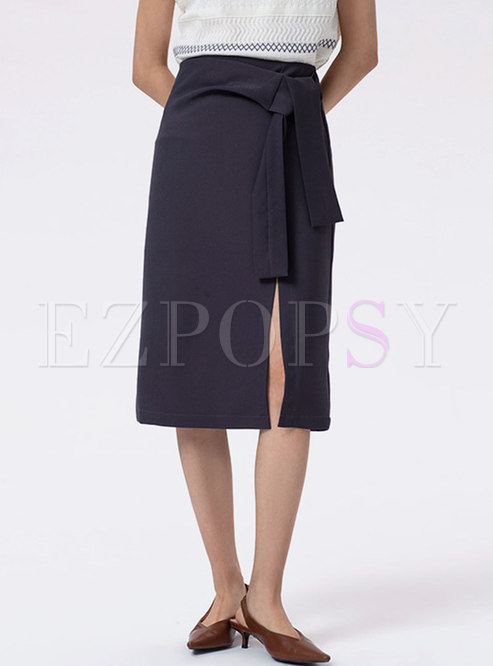 High Waisted Split Straight Midi Skirt