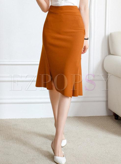 High Waisted Sheath Asymmetric Peplum Skirt