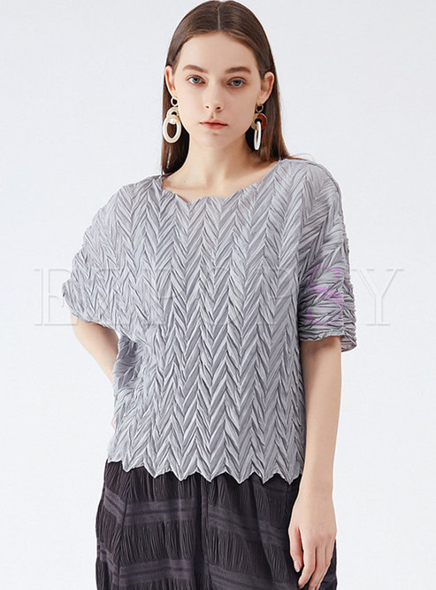 Crew Neck Pullover Loose Pleated T-shirt