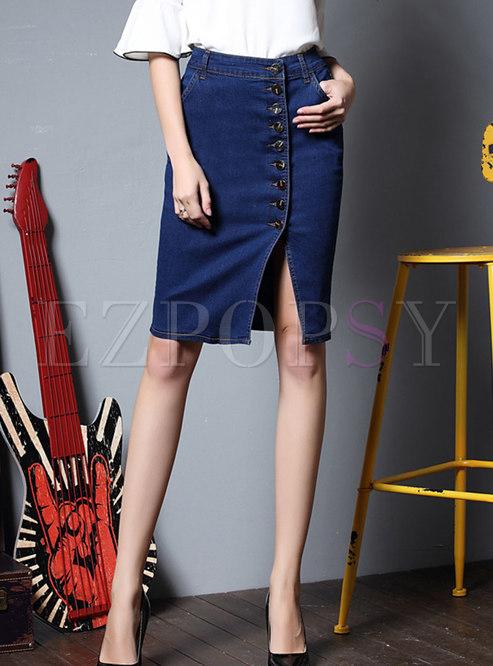 Blue High Waisted Sheath Denim Split Skirt