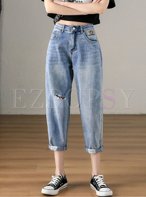 Light Blue Print Harem Ripped jeans