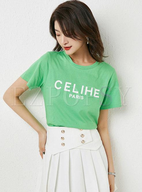 Green Crew Neck Letter Print T-Shirt