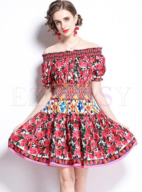 Off-the-shoulder Puff Sleeve Print Skater Dress