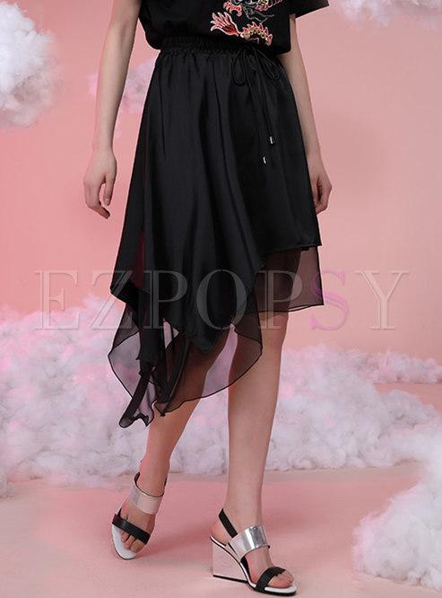 Black Drawstring Irregular Mesh Skirt