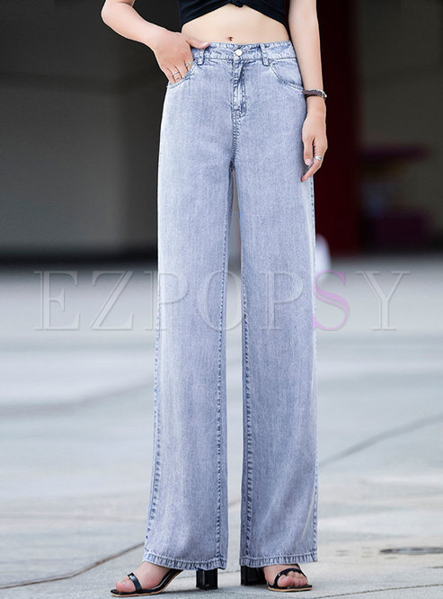 Light Blue High Waisted Embroidered Wide Leg Jeans