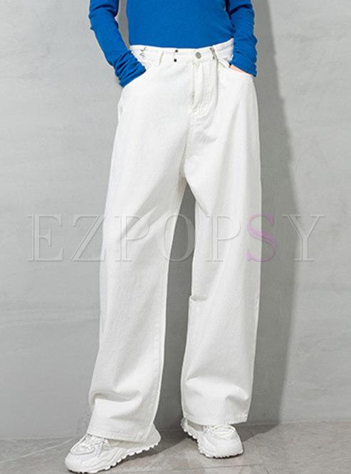White Pocket Loose Straight Pants
