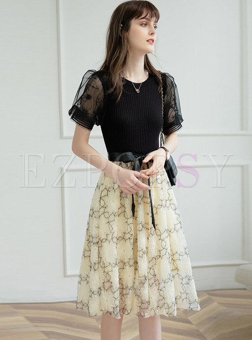 Knitted Crew Neck Patchwork Puff Sleeve Mesh Dress
