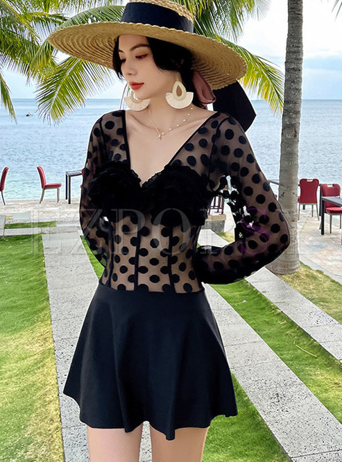 V-neck Polka Dot Transparent One Piece Swimwear