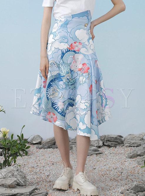Artsy Blue Print Irregular Midi Skirt