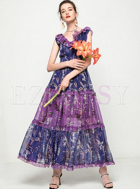 V-neck Sleeveless Mesh Big Hem Print Maxi Dress
