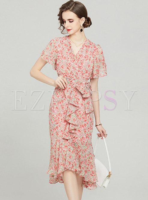 V-Neck Cap Sleeve Floral Ruffle Irregular Peplum Dress