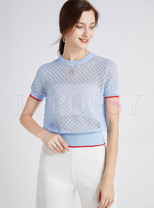 Sexy Transparent Openwork Knitted T-Shirt