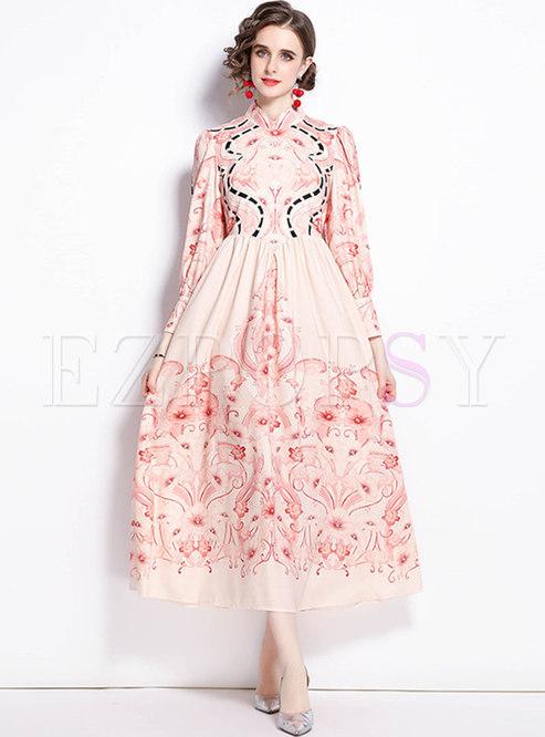 Mock Neck Print Long Sleeve Big Hem Maxi Dress