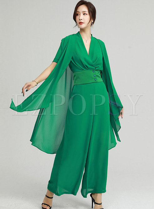Solid V-neck Shawl Patchwork Palazzo Pant Suits