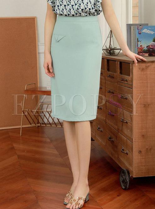 High Waisted Sheath Split Office Skirt