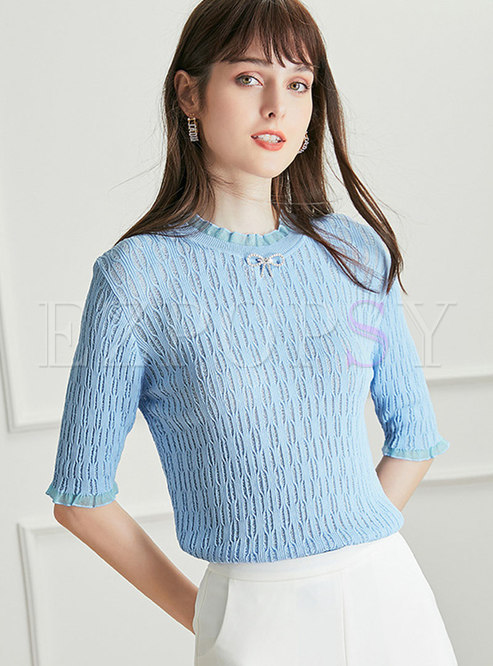 Solid Half Sleeve Sequin Bowknot Knitted T-Shirt