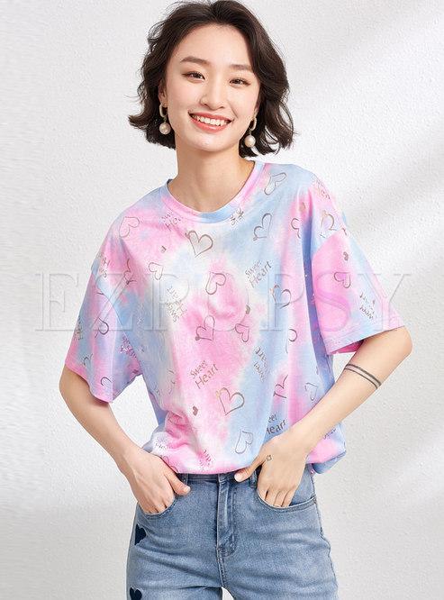 Sweet Heart Letter Dye Tie Pullover T-shirt