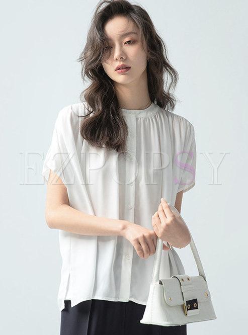 Brief Short Sleeve Single-Breasted Loose Shirt