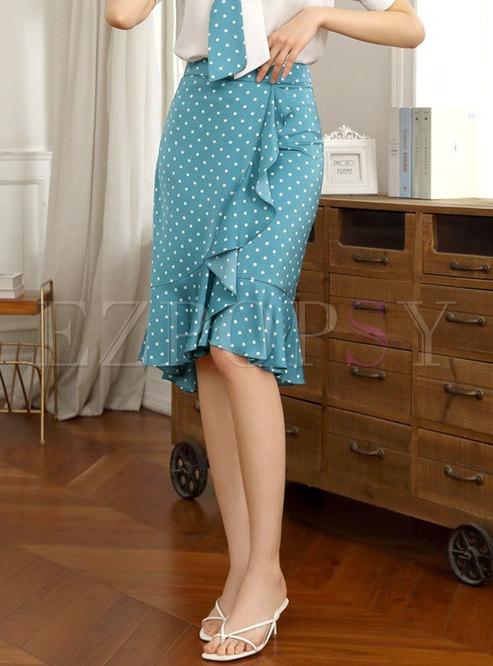 Blue High Waisted Polka Dot Sheath Ruffle Skirt