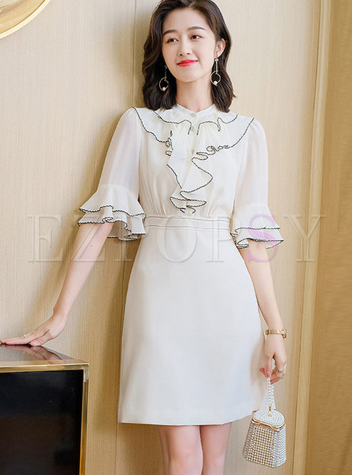 Mock Neck Ruffle Half Sleeve A Line Dress