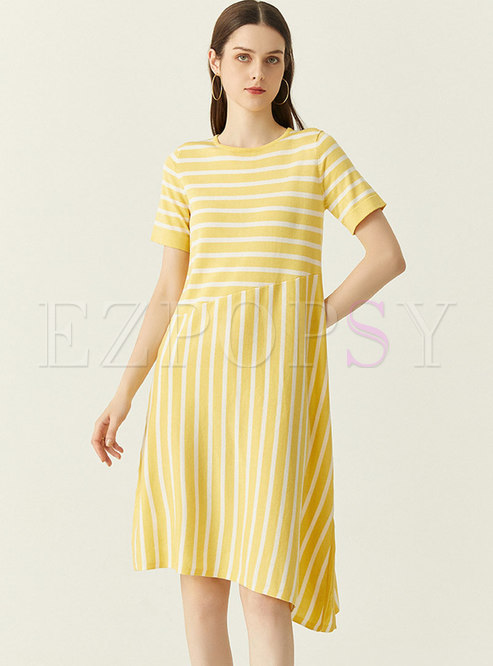 Casual Striped Asymmetric Shift Knitted Dress