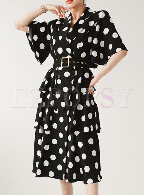 Black Polka Dot Belted Layer Midi Dress