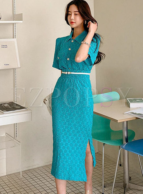 Turn-down Collar Lace High Waisted Split Skirt Suits