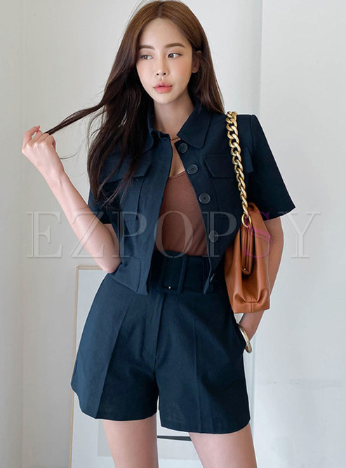 Casual Turn-down Collar High Waisted Shorts Suits