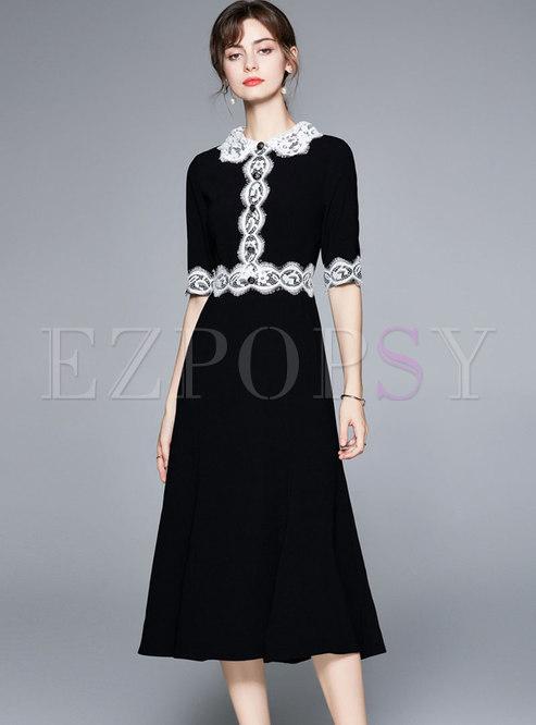 Black Half Sleeve Lace Patchwork Midi Skater Dress