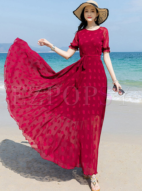 Red Crew Neck Print Chiffon Maxi Dress