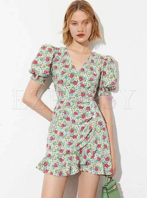 Sweet Puff Sleeve Ruffle Floral Mini Skater Dress