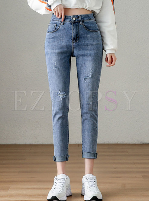Blue High Waisted Ripped Pencil Jeans