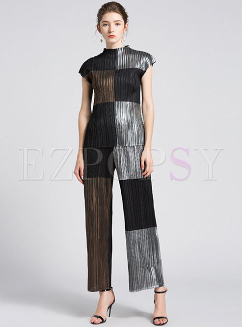 Color Blocked Mock Neck Top Stretchy Pant Suits